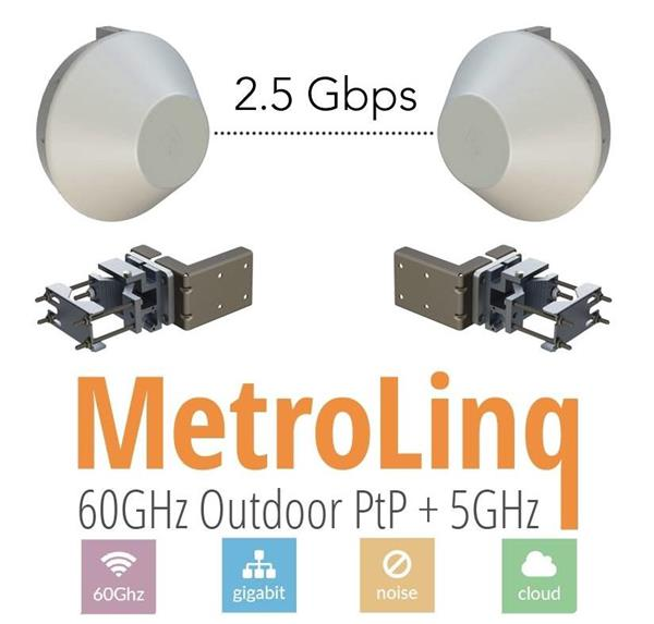 IgniteNet • BR-ML2.5-60-35-EU • 60GHz PtP bridge MetroLinq™ 2.5G 60-35 with Precision holders
